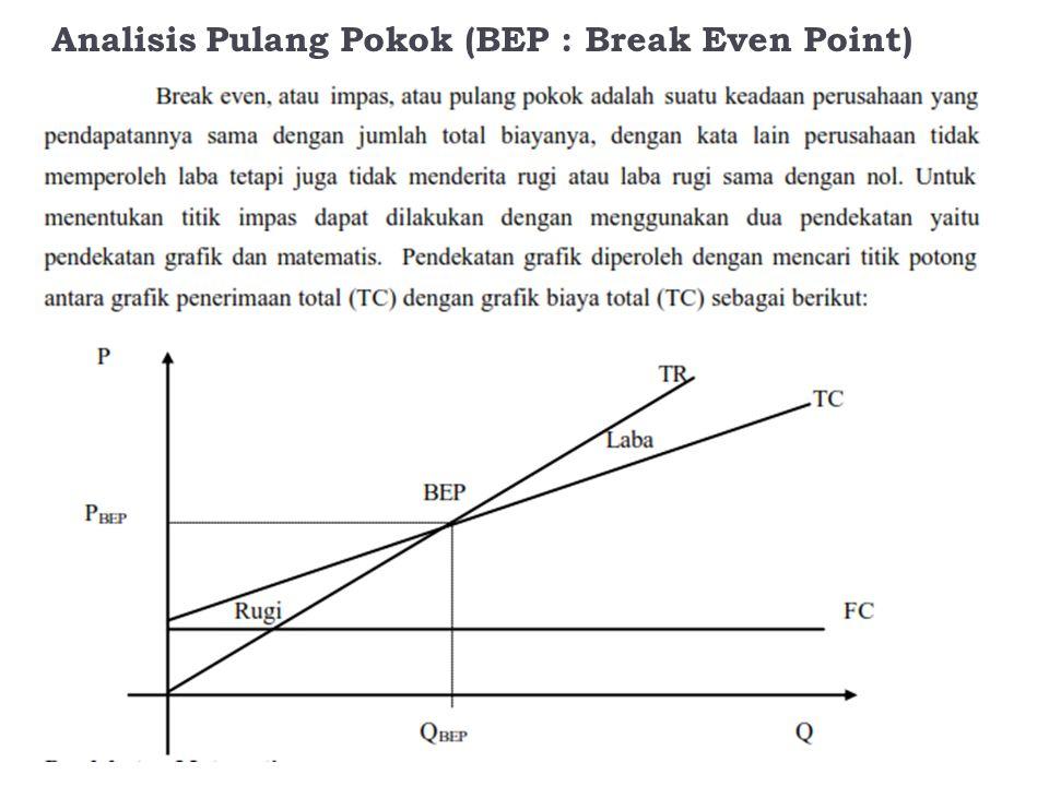 Analisis Pulang Pokok (BEP : Break Even Point)