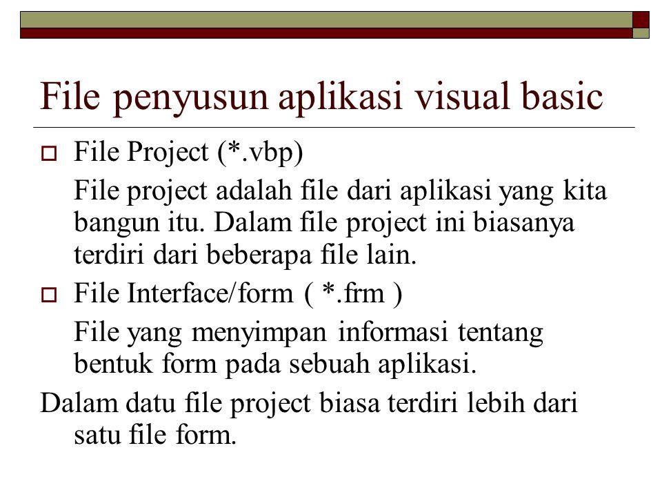 File penyusun aplikasi visual basic  File Project (*.vbp) File project adalah file dari aplikasi yang kita bangun itu. Dalam file project ini biasany
