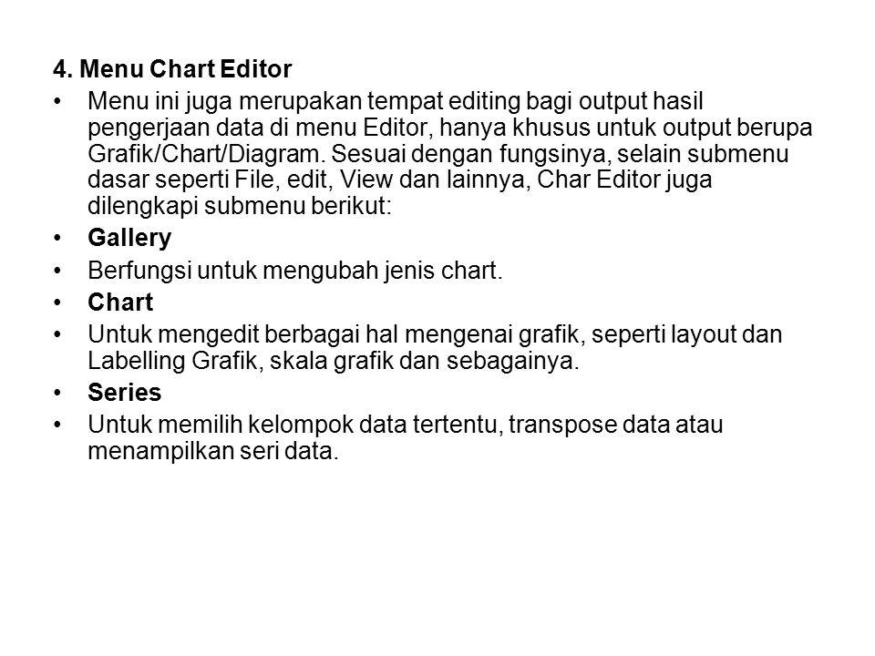 4. Menu Chart Editor Menu ini juga merupakan tempat editing bagi output hasil pengerjaan data di menu Editor, hanya khusus untuk output berupa Grafik/