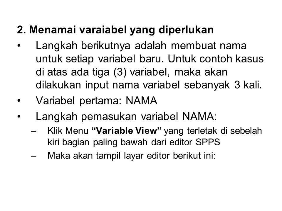 2. Menamai varaiabel yang diperlukan Langkah berikutnya adalah membuat nama untuk setiap variabel baru. Untuk contoh kasus di atas ada tiga (3) variab