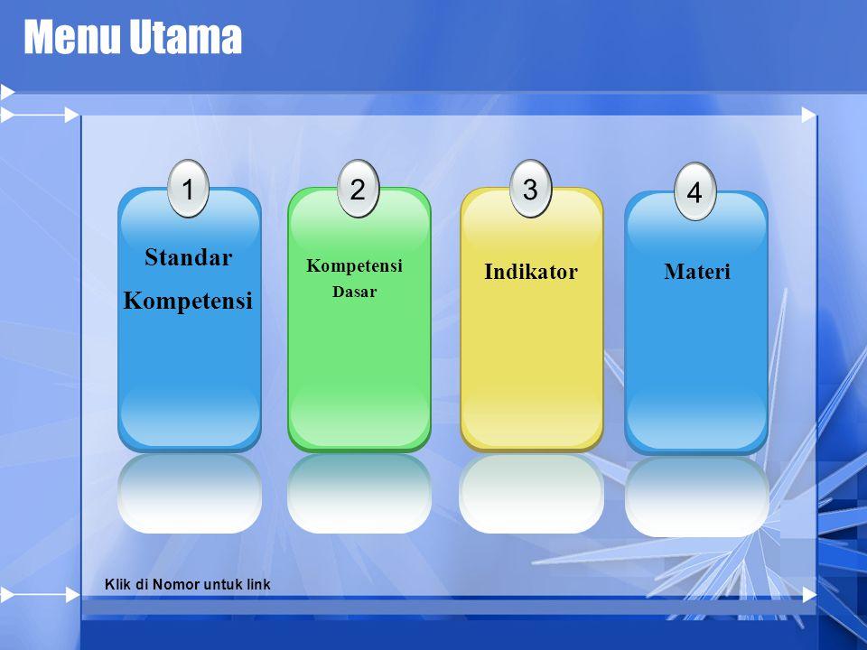 Menu Utama 1 Standar Kompetensi 23 4 Kompetensi Dasar IndikatorMateri Klik di Nomor untuk link