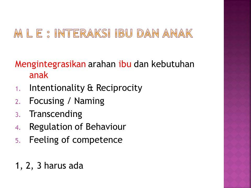 Mengintegrasikan arahan ibu dan kebutuhan anak 1. Intentionality & Reciprocity 2. Focusing / Naming 3. Transcending 4. Regulation of Behaviour 5. Feel