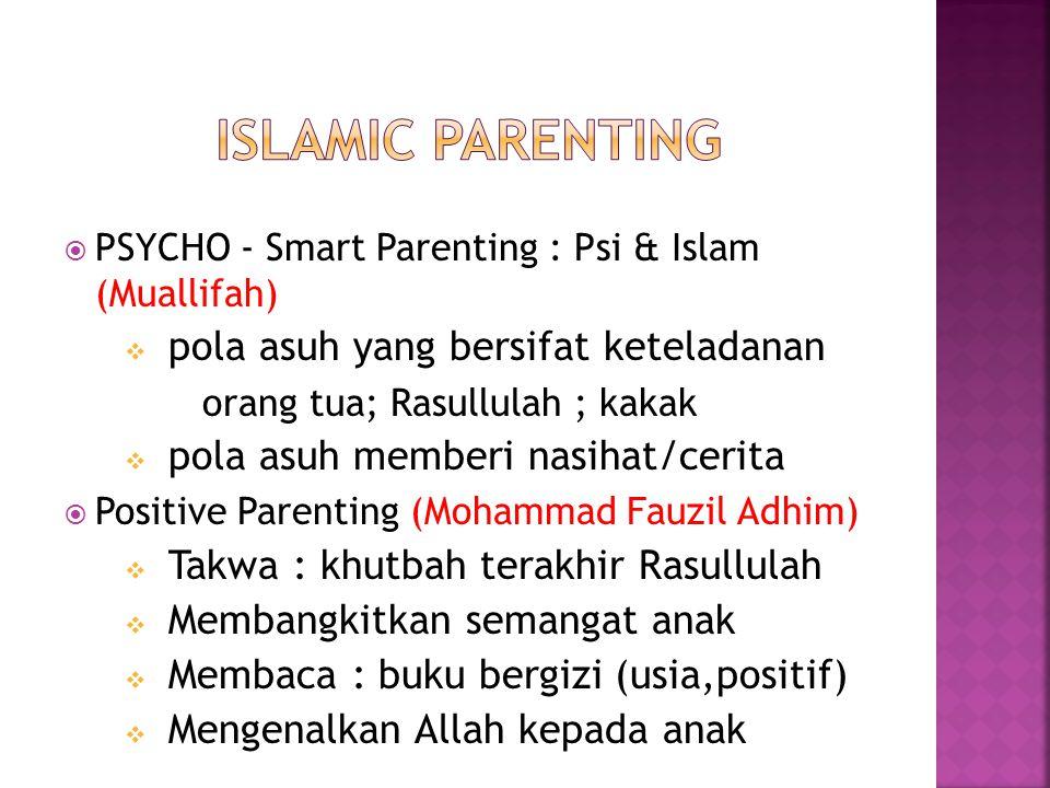  PSYCHO - Smart Parenting : Psi & Islam (Muallifah)  pola asuh yang bersifat keteladanan orang tua; Rasullulah ; kakak  pola asuh memberi nasihat/cerita  Positive Parenting (Mohammad Fauzil Adhim)  Takwa : khutbah terakhir Rasullulah  Membangkitkan semangat anak  Membaca : buku bergizi (usia,positif)  Mengenalkan Allah kepada anak