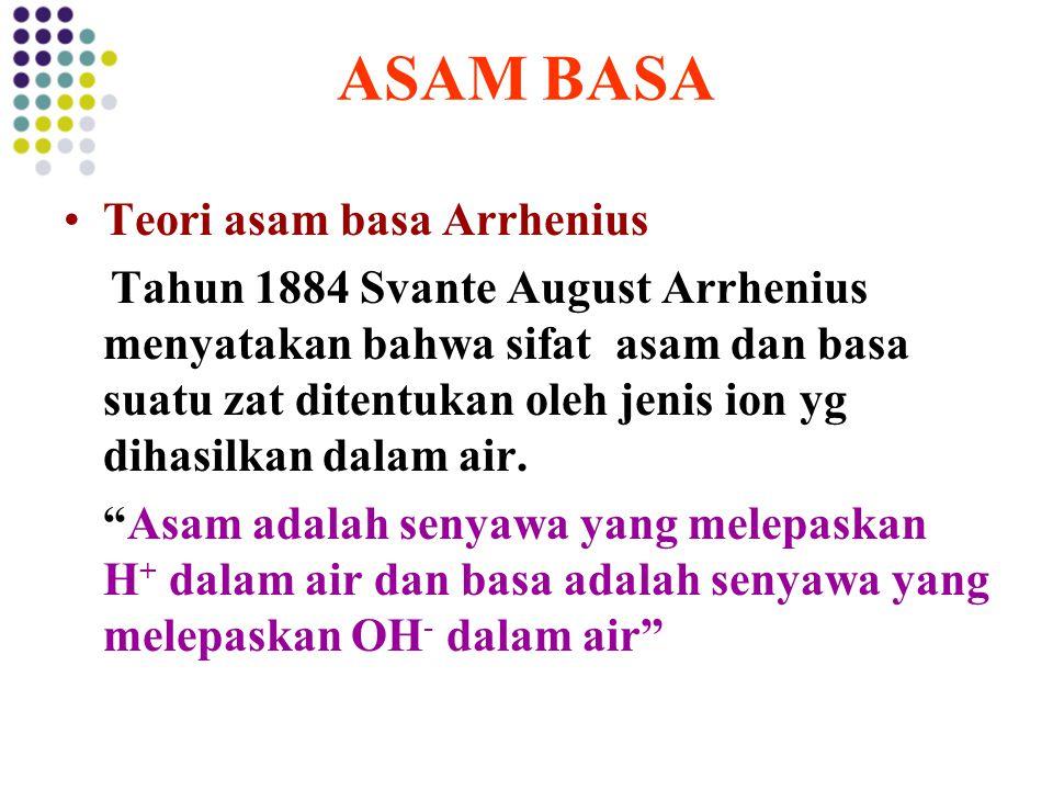 ASAM BASA Teori asam basa Arrhenius Tahun 1884 Svante August Arrhenius menyatakan bahwa sifat asam dan basa suatu zat ditentukan oleh jenis ion yg dih
