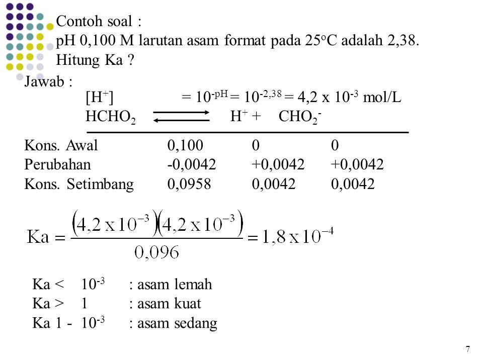 Contoh soal : pH 0,100 M larutan asam format pada 25 o C adalah 2,38. Hitung Ka ? Jawab : [H + ]= 10 -pH = 10 -2,38 = 4,2 x 10 -3 mol/L HCHO 2 H + + C