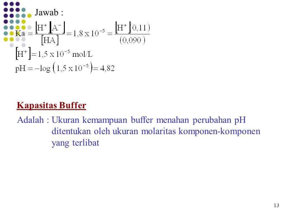 Jawab : Kapasitas Buffer Adalah : Ukuran kemampuan buffer menahan perubahan pH ditentukan oleh ukuran molaritas komponen-komponen yang terlibat 13
