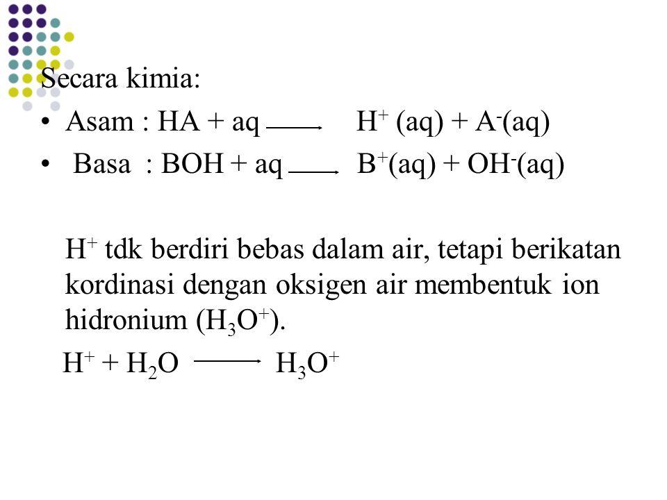 Secara kimia: Asam : HA + aq H + (aq) + A - (aq) Basa : BOH + aq B + (aq) + OH - (aq) H + tdk berdiri bebas dalam air, tetapi berikatan kordinasi deng