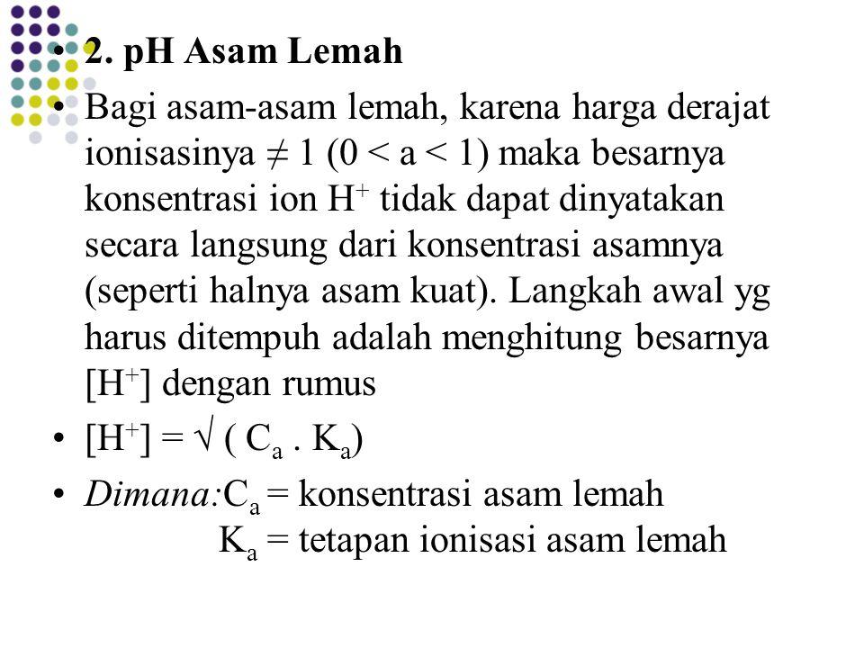 2. pH Asam Lemah Bagi asam-asam lemah, karena harga derajat ionisasinya ≠ 1 (0 < a < 1) maka besarnya konsentrasi ion H + tidak dapat dinyatakan secar