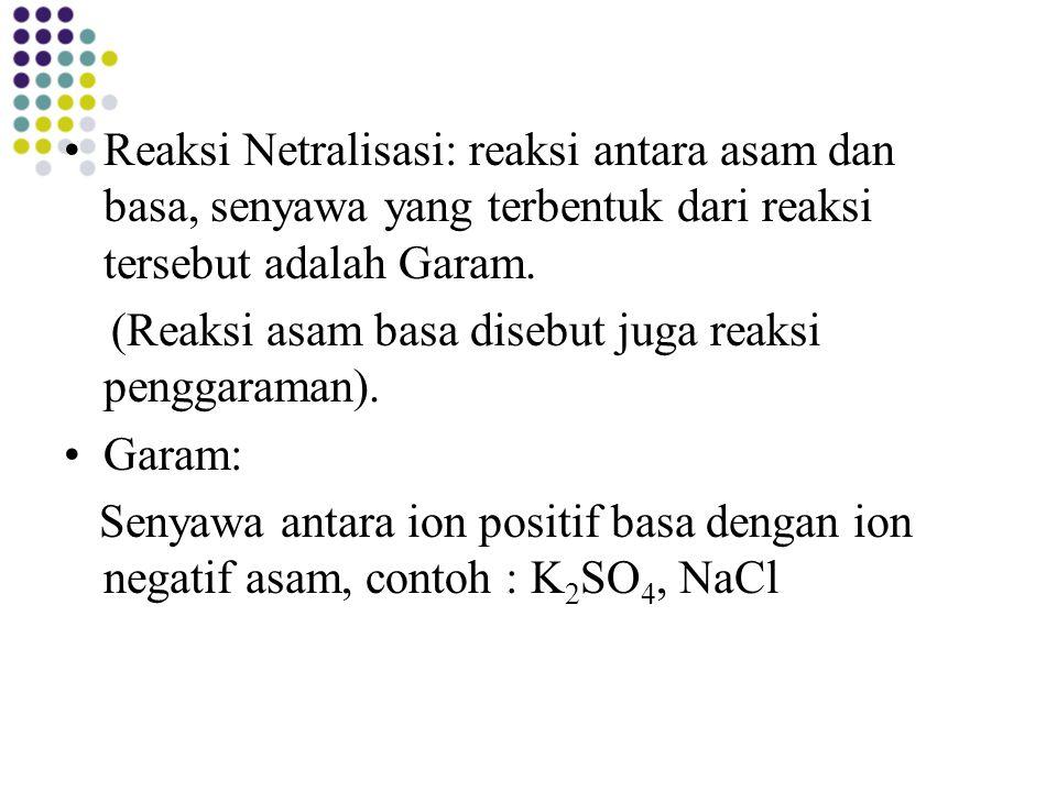Reaksi Netralisasi: reaksi antara asam dan basa, senyawa yang terbentuk dari reaksi tersebut adalah Garam. (Reaksi asam basa disebut juga reaksi pengg