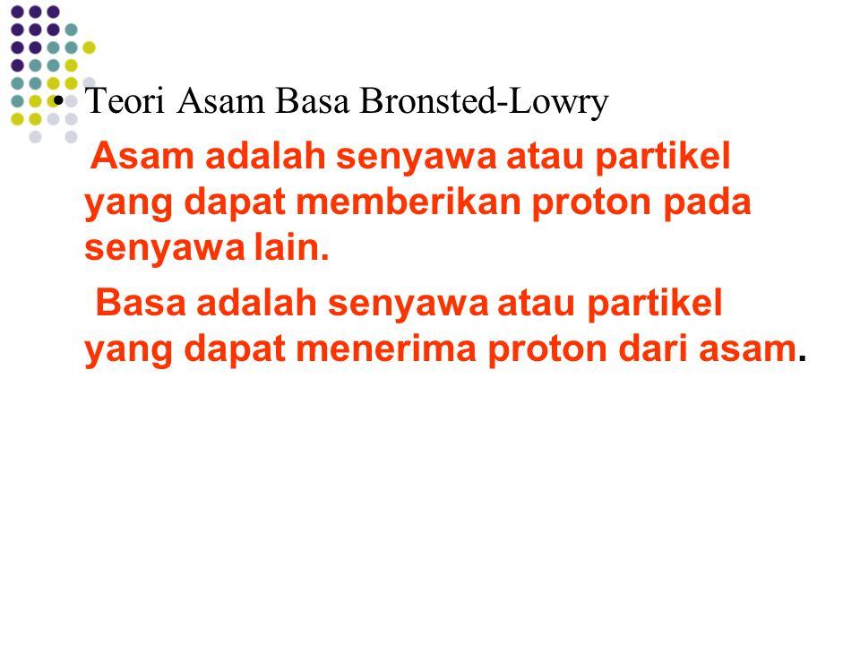 Teori Asam Basa Bronsted-Lowry Asam adalah senyawa atau partikel yang dapat memberikan proton pada senyawa lain. Basa adalah senyawa atau partikel yan