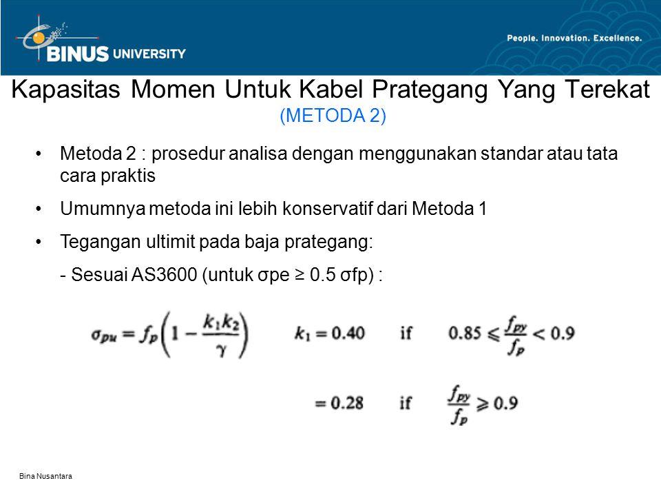 Bina Nusantara Kapasitas Momen Untuk Kabel Prategang Yang Terekat (METODA 2) Metoda 2 : prosedur analisa dengan menggunakan standar atau tata cara pra