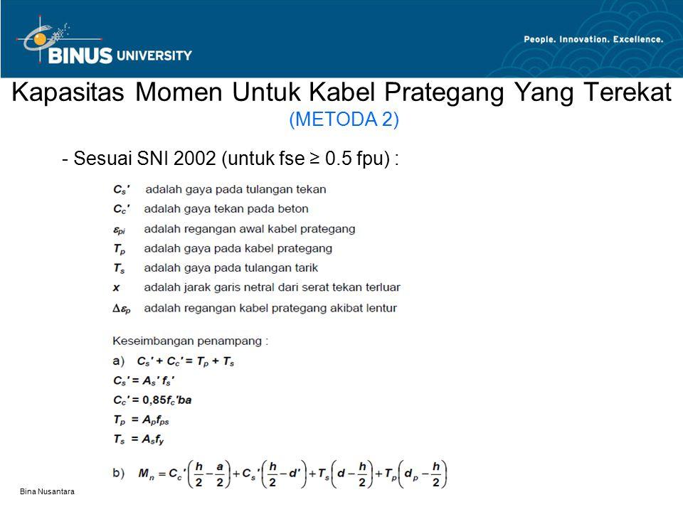 Bina Nusantara Kapasitas Momen Untuk Kabel Prategang Yang Terekat (METODA 2) - Sesuai SNI 2002 (untuk fse ≥ 0.5 fpu) :