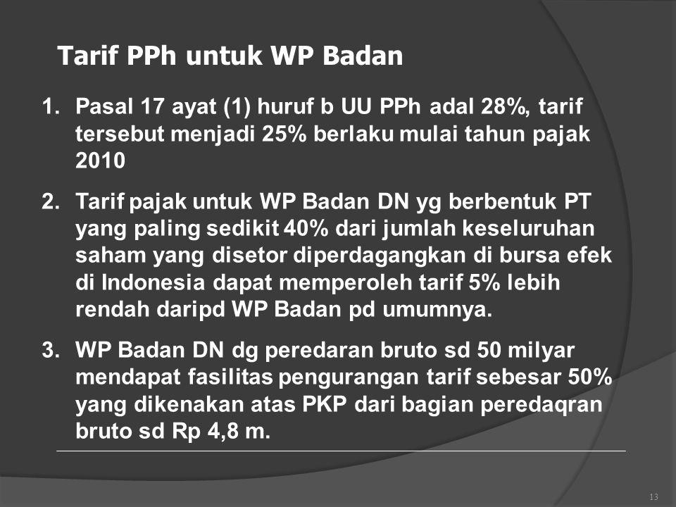 13 Tarif PPh untuk WP Badan 1.Pasal 17 ayat (1) huruf b UU PPh adal 28%, tarif tersebut menjadi 25% berlaku mulai tahun pajak 2010 2.Tarif pajak untuk WP Badan DN yg berbentuk PT yang paling sedikit 40% dari jumlah keseluruhan saham yang disetor diperdagangkan di bursa efek di Indonesia dapat memperoleh tarif 5% lebih rendah daripd WP Badan pd umumnya.