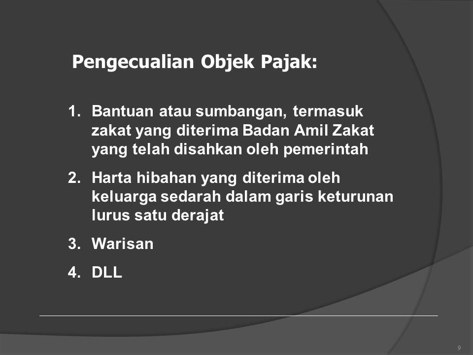 9 Pengecualian Objek Pajak: 1.Bantuan atau sumbangan, termasuk zakat yang diterima Badan Amil Zakat yang telah disahkan oleh pemerintah 2.Harta hibahan yang diterima oleh keluarga sedarah dalam garis keturunan lurus satu derajat 3.Warisan 4.DLL