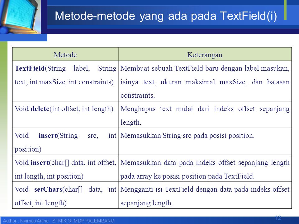 Author : Nyimas Artina STMIK GI MDP PALEMBANG Metode-metode yang ada pada TextField(i) MetodeKeterangan TextField(String label, String text, int maxSize, int constraints) Membuat sebuah TextField baru dengan label masukan, isinya text, ukuran maksimal maxSize, dan batasan constraints.