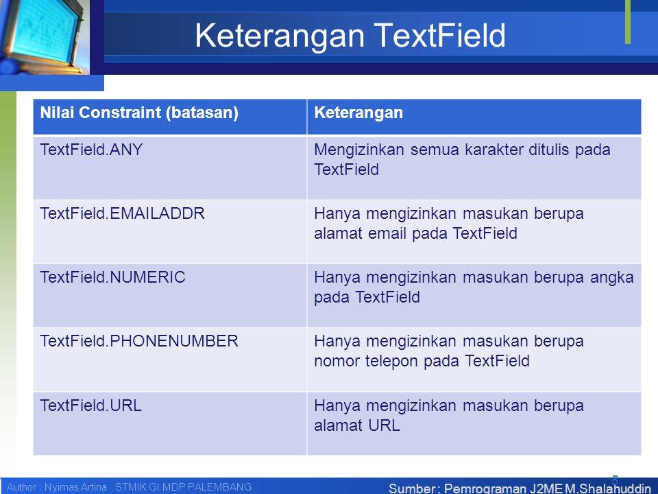 Author : Nyimas Artina STMIK GI MDP PALEMBANG Keterangan TextField Nilai Constraint (batasan)Keterangan TextField.ANYMengizinkan semua karakter ditulis pada TextField TextField.EMAILADDRHanya mengizinkan masukan berupa alamat email pada TextField TextField.NUMERICHanya mengizinkan masukan berupa angka pada TextField TextField.PHONENUMBERHanya mengizinkan masukan berupa nomor telepon pada TextField TextField.URLHanya mengizinkan masukan berupa alamat URL Sumber : Pemrograman J2ME M.Shalahuddin 5