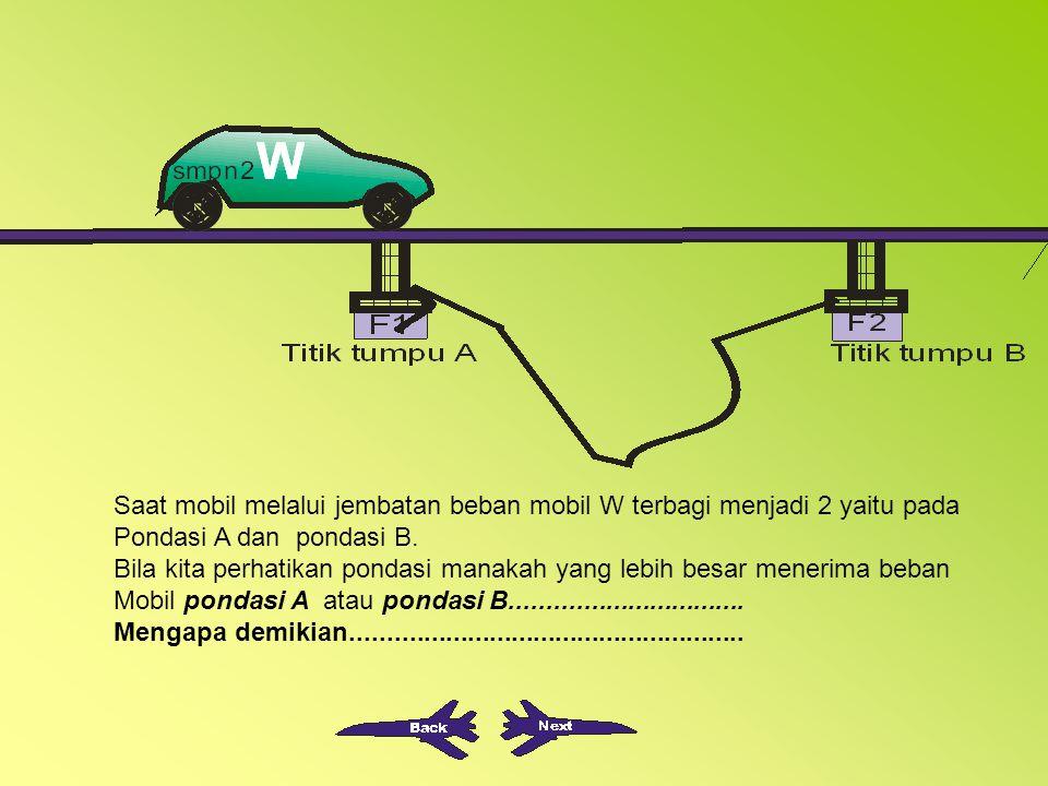 Saat mobil melalui jembatan beban mobil W terbagi menjadi 2 yaitu pada Pondasi A dan pondasi B.