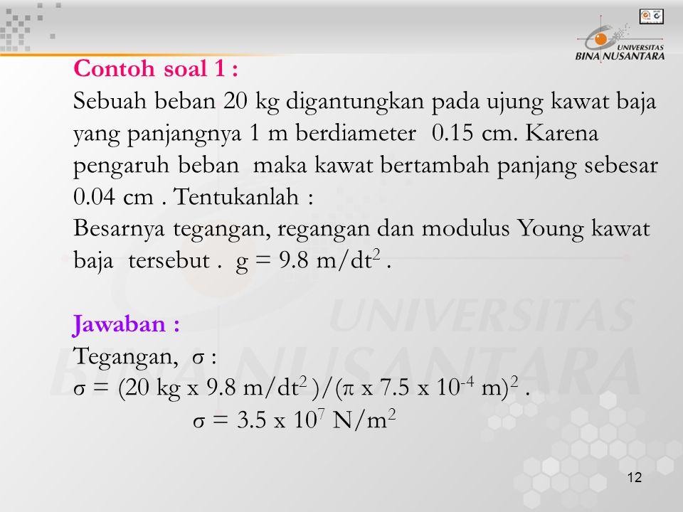 13 ε = ∆L/L = (0,04 cm)/(100 cm) = 4 x 10 -4 Y = σ/ ε = 8.75 x 1010 N/m 2 Contoh soal 2 : Suatu batang baja panjang L dengan luas penampang A digantungkan seperti tergambar.Apabila modulus elastisitas adalah E..