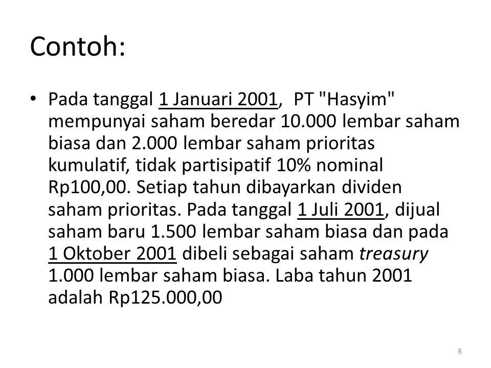 Contoh: Pada tanggal 1 Januari 2001, PT