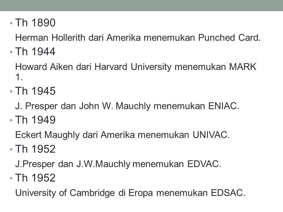 Th 1890 Herman Hollerith dari Amerika menemukan Punched Card. Th 1944 Howard Aiken dari Harvard University menemukan MARK 1. Th 1945 J. Presper dan Jo