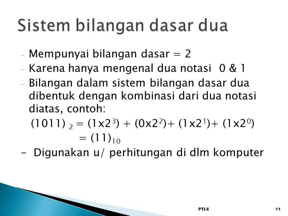 PTI-611 - Mempunyai bilangan dasar = 2 - Karena hanya mengenal dua notasi 0 & 1 - Bilangan dalam sistem bilangan dasar dua dibentuk dengan kombinasi d