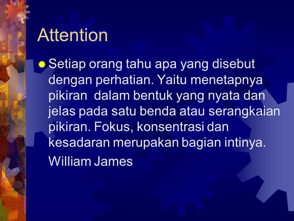 Attention  Setiap orang tahu apa yang disebut dengan perhatian. Yaitu menetapnya pikiran dalam bentuk yang nyata dan jelas pada satu benda atau seran