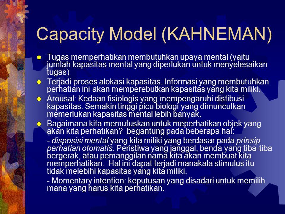 Capacity Model (KAHNEMAN)  Tugas memperhatikan membutuhkan upaya mental (yaitu jumlah kapasitas mental yang diperlukan untuk menyelesaikan tugas)  T