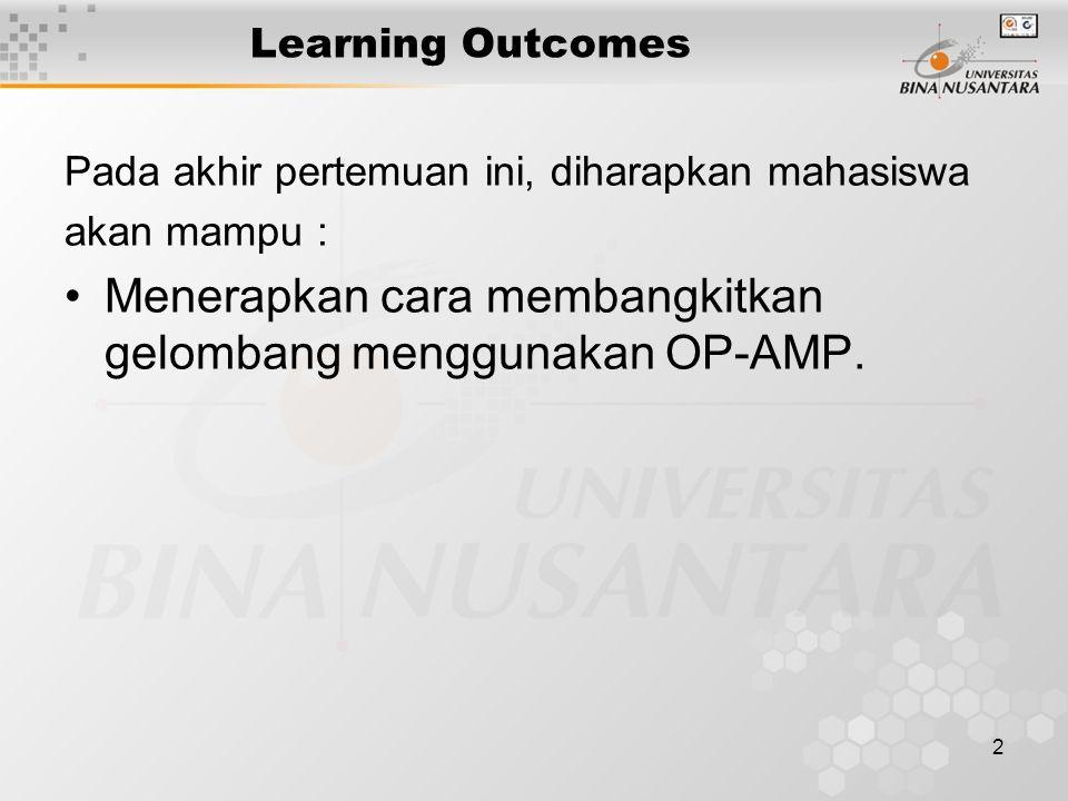 2 Learning Outcomes Pada akhir pertemuan ini, diharapkan mahasiswa akan mampu : Menerapkan cara membangkitkan gelombang menggunakan OP-AMP.