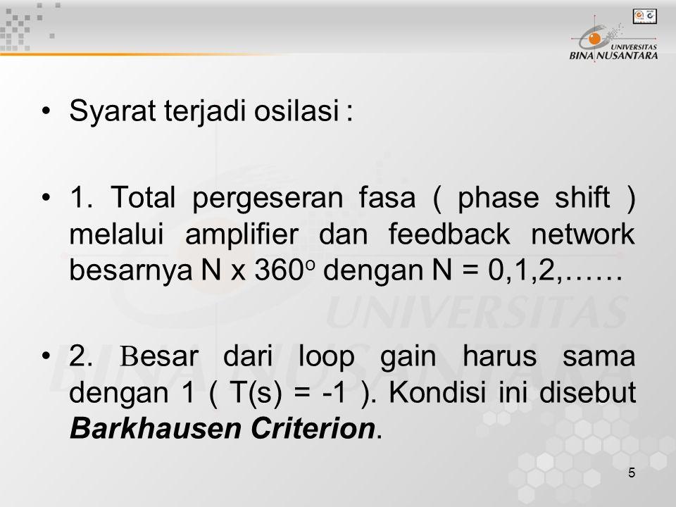 5 Syarat terjadi osilasi : 1. Total pergeseran fasa ( phase shift ) melalui amplifier dan feedback network besarnya N x 360 o dengan N = 0,1,2,…… 2. B