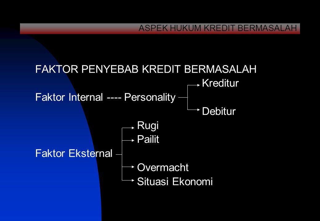 FAKTOR PENYEBAB KREDIT BERMASALAH Kreditur Faktor Internal ---- Personality Debitur Rugi Pailit Faktor Eksternal Overmacht Situasi Ekonomi ASPEK HUKUM KREDIT BERMASALAH