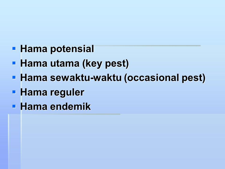  Hama potensial  Hama utama (key pest)  Hama sewaktu-waktu (occasional pest)  Hama reguler  Hama endemik