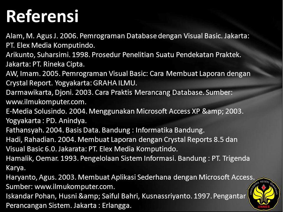 Referensi Alam, M. Agus J. 2006. Pemrograman Database dengan Visual Basic.