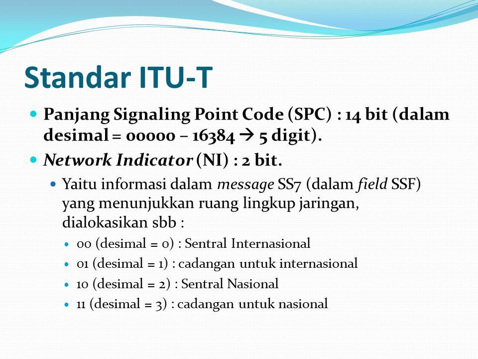 Standar ITU-T Panjang Signaling Point Code (SPC) : 14 bit (dalam desimal = 00000 – 16384  5 digit).
