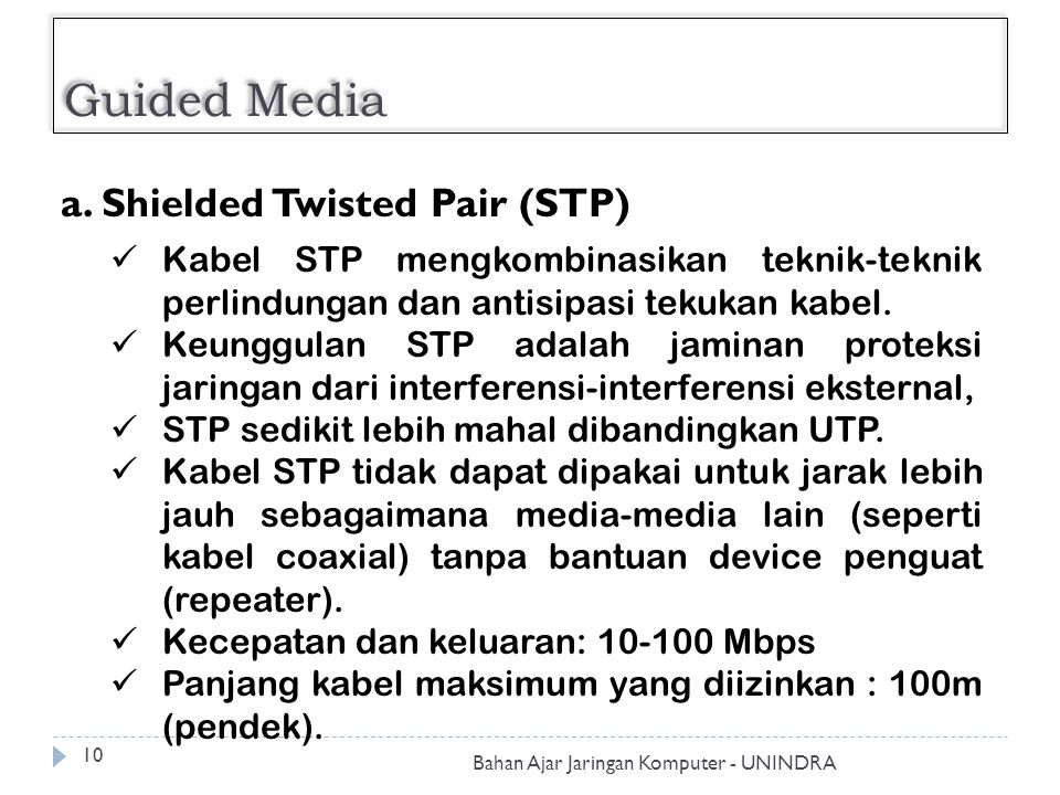 Guided Media Bahan Ajar Jaringan Komputer - UNINDRA 10 a. Shielded Twisted Pair (STP) Kabel STP mengkombinasikan teknik-teknik perlindungan dan antisi