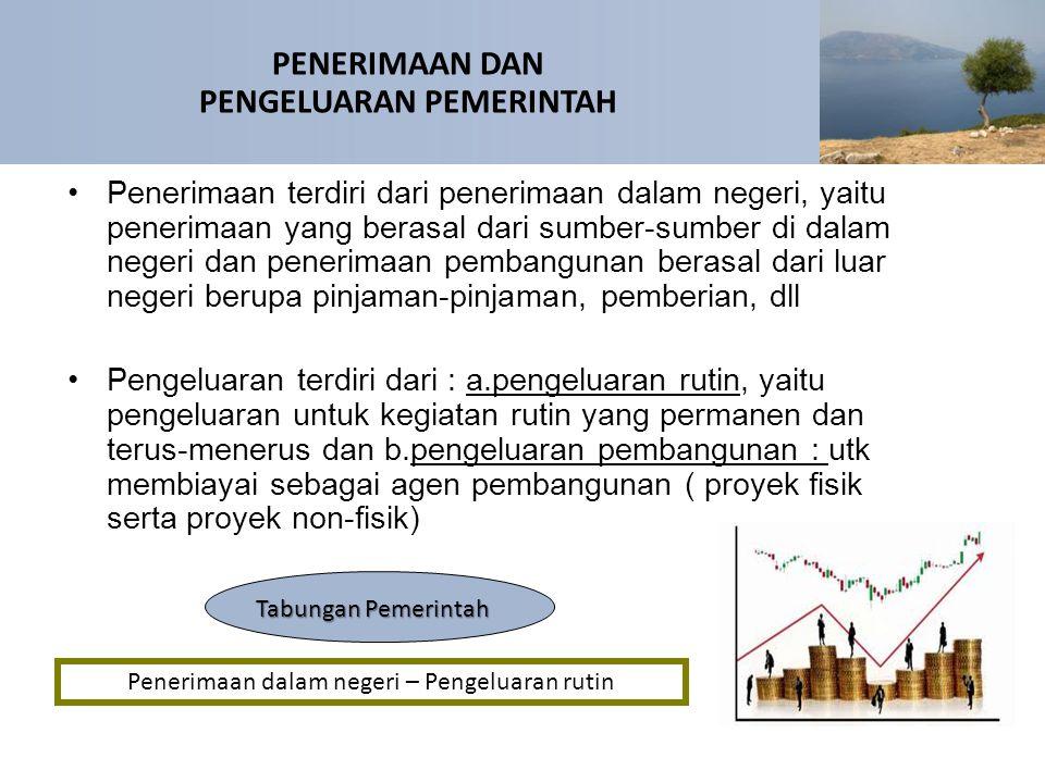 Penerimaan terdiri dari penerimaan dalam negeri, yaitu penerimaan yang berasal dari sumber-sumber di dalam negeri dan penerimaan pembangunan berasal d