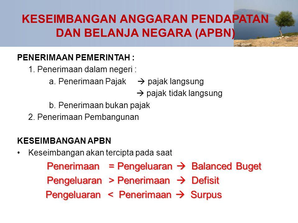 KESEIMBANGAN ANGGARAN PENDAPATAN DAN BELANJA NEGARA (APBN) PENERIMAAN PEMERINTAH : 1. Penerimaan dalam negeri : a. Penerimaan Pajak  pajak langsung 