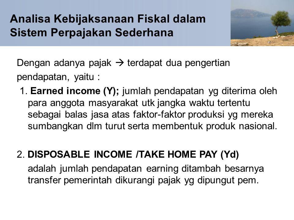 Analisa Kebijaksanaan Fiskal dalam Sistem Perpajakan Sederhana Dengan adanya pajak  terdapat dua pengertian pendapatan, yaitu : 1. Earned income (Y);