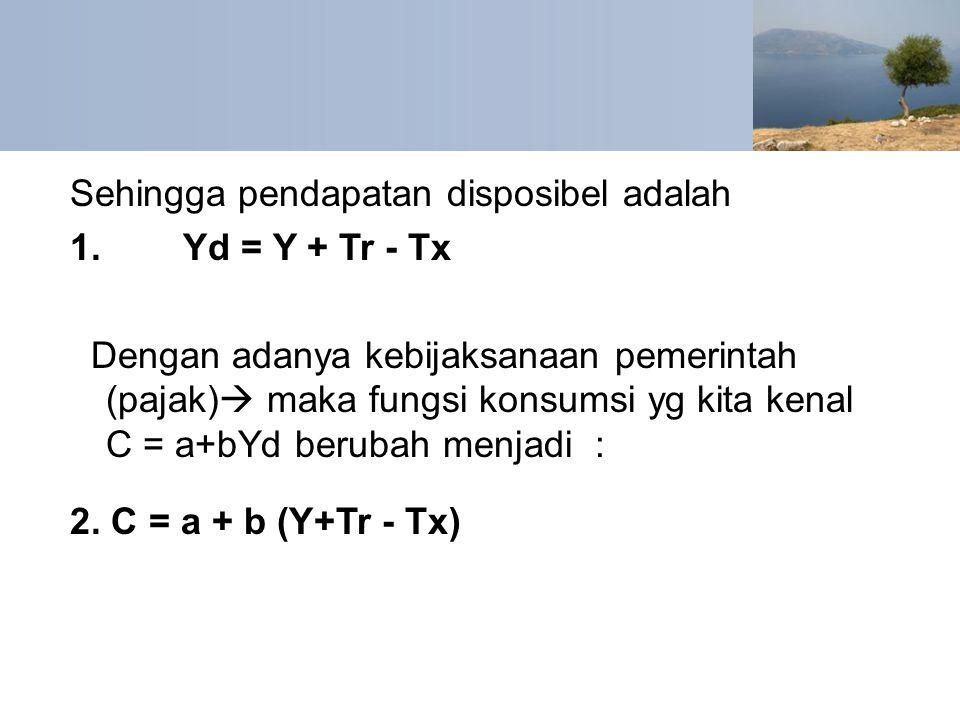Sehingga pendapatan disposibel adalah 1. Yd = Y + Tr - Tx Dengan adanya kebijaksanaan pemerintah (pajak)  maka fungsi konsumsi yg kita kenal C = a+bY