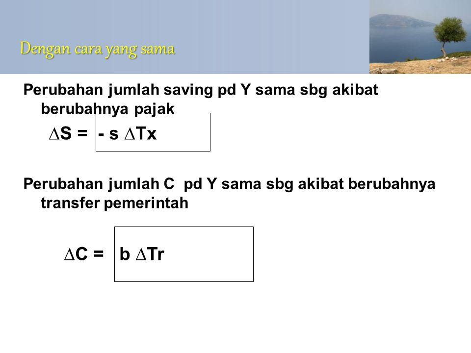 Dengan cara yang sama Perubahan jumlah saving pd Y sama sbg akibat berubahnya pajak ∆S = - s ∆Tx Perubahan jumlah C pd Y sama sbg akibat berubahnya tr