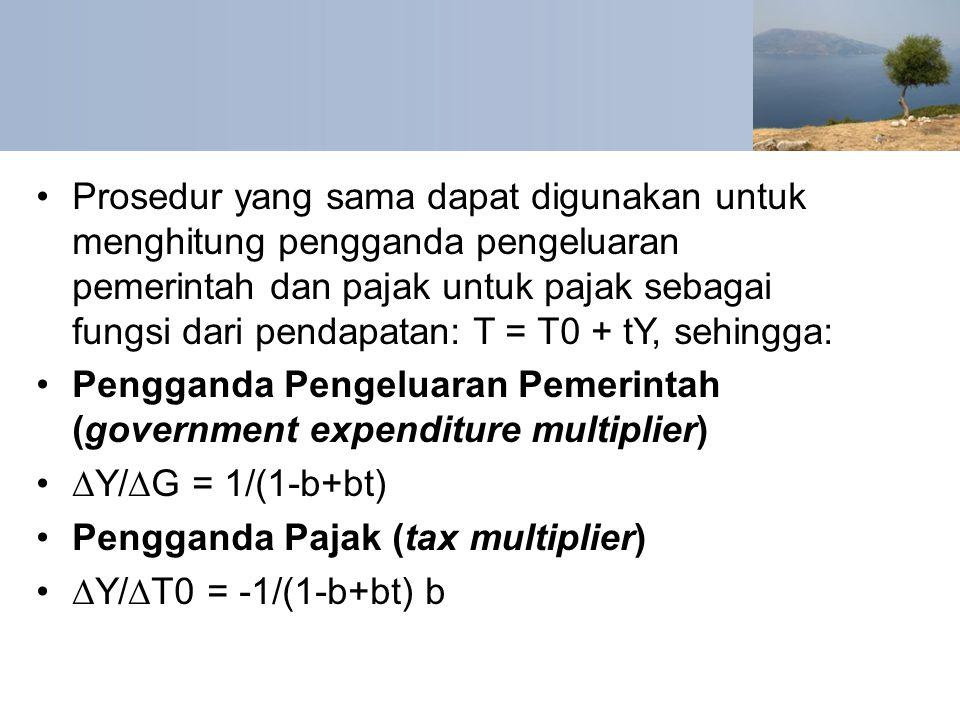 Prosedur yang sama dapat digunakan untuk menghitung pengganda pengeluaran pemerintah dan pajak untuk pajak sebagai fungsi dari pendapatan: T = T0 + tY