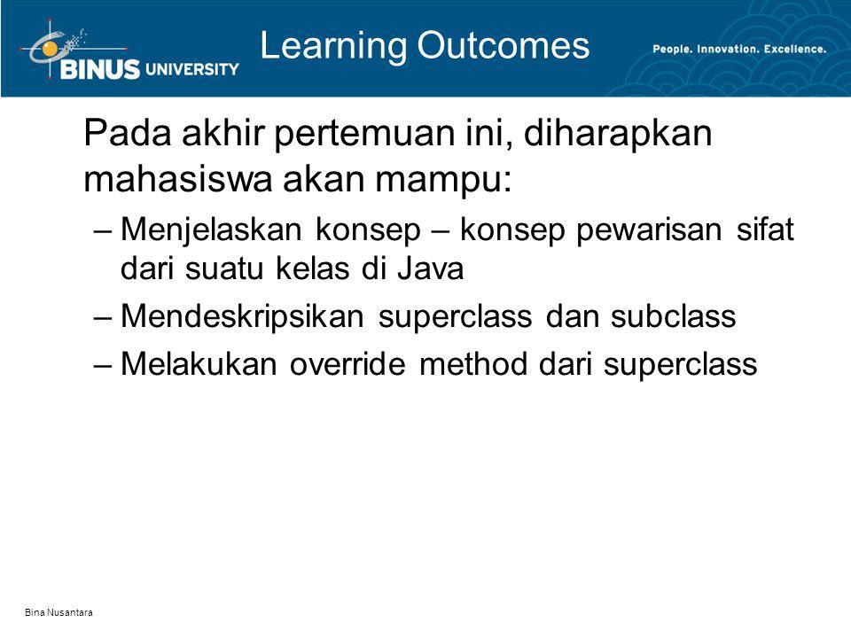 Bina Nusantara Learning Outcomes Pada akhir pertemuan ini, diharapkan mahasiswa akan mampu: –Menjelaskan konsep – konsep pewarisan sifat dari suatu ke
