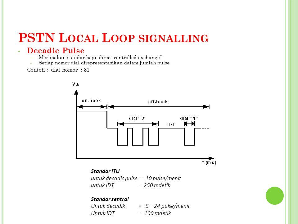 """PSTN L OCAL L OOP SIGNALLING Decadic Pulse – Merupakan standar bagi """"direct controlled exchange"""" – Setiap nomor dial direpresentasikan dalam jumlah pu"""