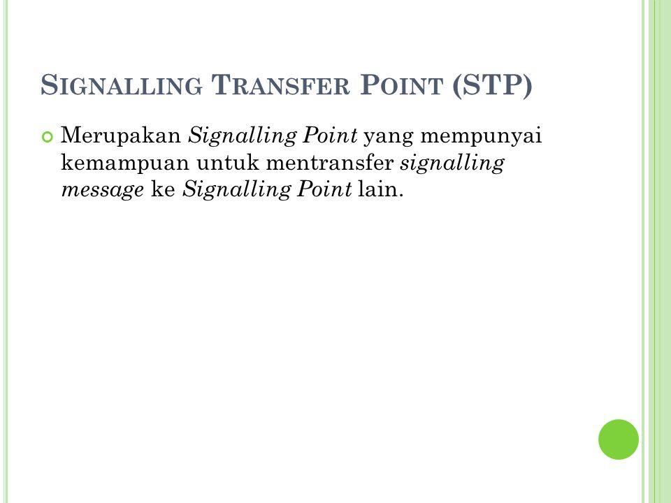 S IGNALLING T RANSFER P OINT (STP) Merupakan Signalling Point yang mempunyai kemampuan untuk mentransfer signalling message ke Signalling Point lain.