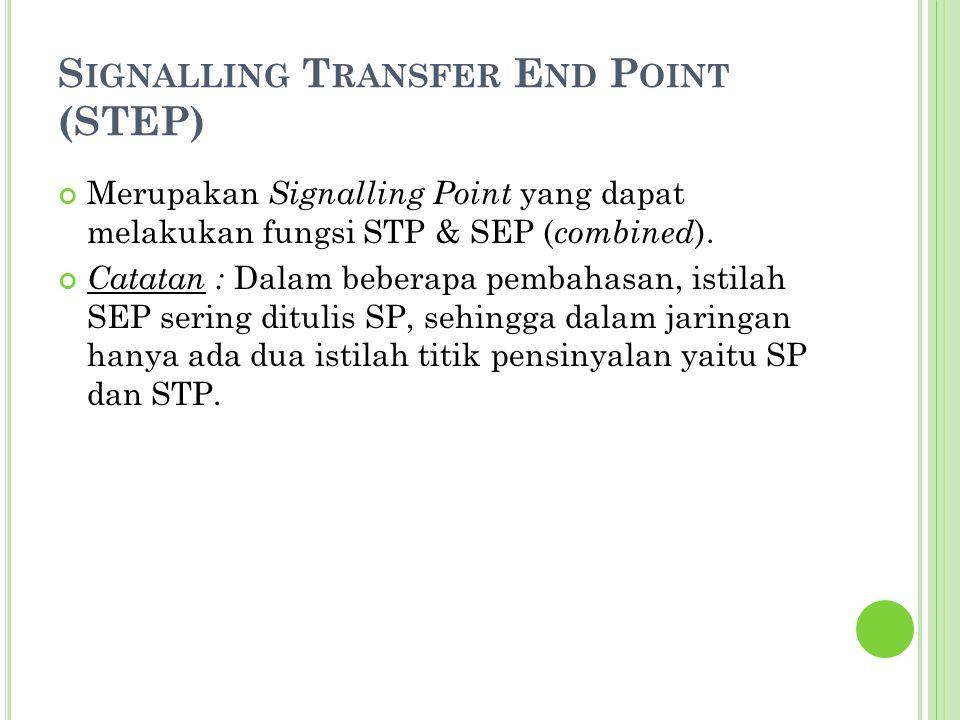 S IGNALLING T RANSFER E ND P OINT (STEP) Merupakan Signalling Point yang dapat melakukan fungsi STP & SEP ( combined ). Catatan : Dalam beberapa pemba