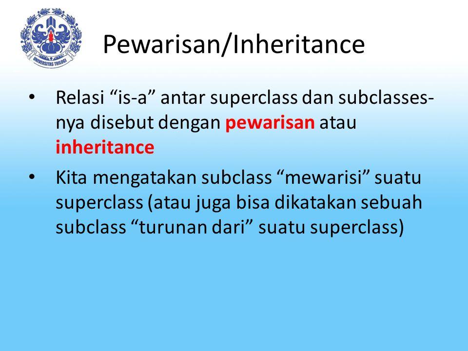"Pewarisan/Inheritance Relasi ""is-a"" antar superclass dan subclasses- nya disebut dengan pewarisan atau inheritance Kita mengatakan subclass ""mewarisi"""