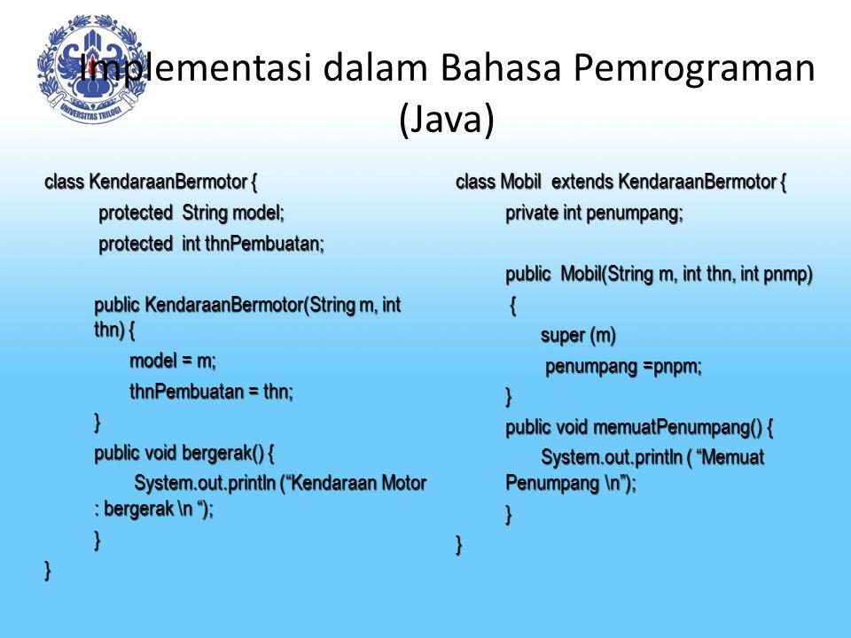 Implementasi dalam Bahasa Pemrograman (Java) class KendaraanBermotor { protected String model; protected String model; protected int thnPembuatan; pro