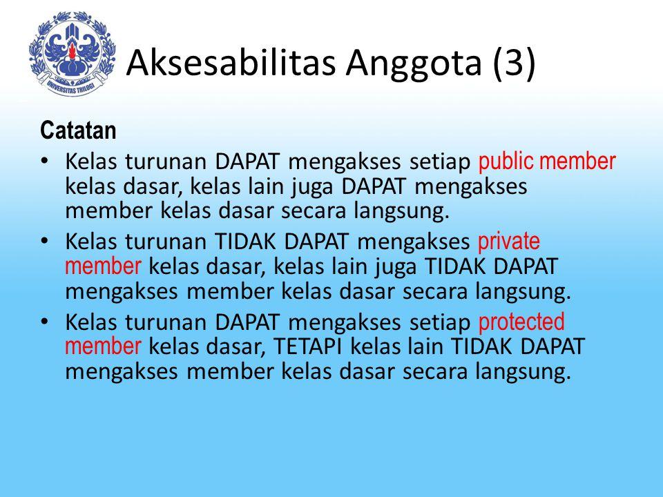 Aksesabilitas Anggota (3) Catatan Kelas turunan DAPAT mengakses setiap public member kelas dasar, kelas lain juga DAPAT mengakses member kelas dasar s