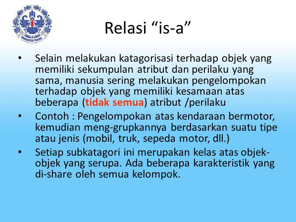 Relasi is-a Relasi antar kelas-kelas ini disebut dengan relasi is- a Dalam setiap kasus, objek yang dikelompokkan bersama dalam satu sub-katagori merupakan anggota dari katagori yang lebih umum.