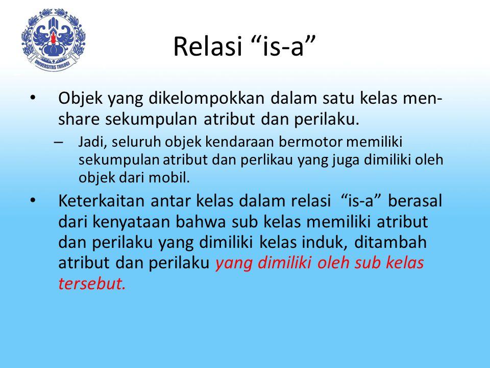 "Relasi ""is-a"" Objek yang dikelompokkan dalam satu kelas men- share sekumpulan atribut dan perilaku. – Jadi, seluruh objek kendaraan bermotor memiliki"