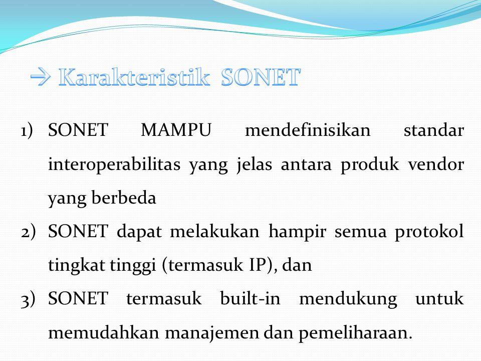 1)SONET MAMPU mendefinisikan standar interoperabilitas yang jelas antara produk vendor yang berbeda 2)SONET dapat melakukan hampir semua protokol tingkat tinggi (termasuk IP), dan 3)SONET termasuk built-in mendukung untuk memudahkan manajemen dan pemeliharaan.